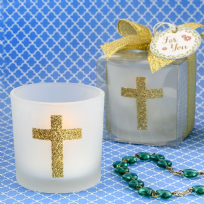 Cross Themed White Frosted Glass Candle Holder